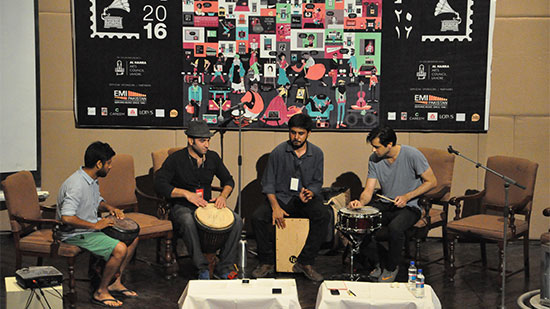 CFamed-precussionist-and-Coke-Studio-alum,-Sikander-Mufti-laying-down-the-beat-at-his-percussion-workshop-on-Day-1